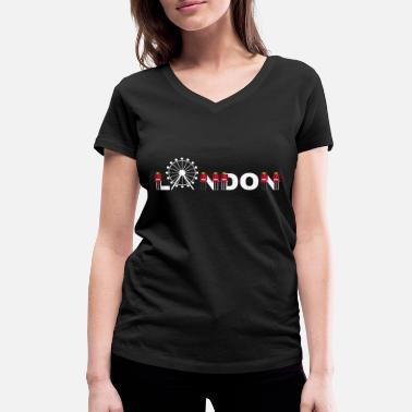 London Guard London lettering with Palace Guard from Buckingham - Women's Organic V-Neck T-Shirt by Stanley & Stella