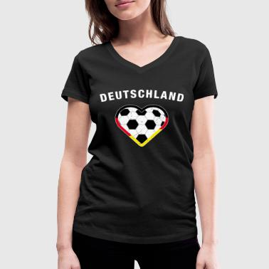 Germany heart - football love - Women's Organic V-Neck T-Shirt by Stanley & Stella