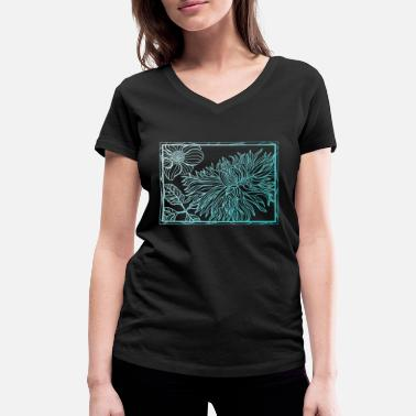 Turquoise Floral turquoise - Women's Organic V-Neck T-Shirt by Stanley & Stella