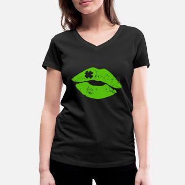 Green Lips Lips Clover St. Patrick's Day T-Shirt Gift - Women's Organic V-Neck T-Shirt by Stanley & Stella