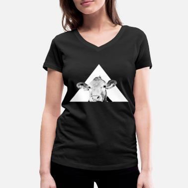 Inverted Triangle Cool cow - Women's Organic V-Neck T-Shirt by Stanley & Stella