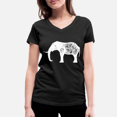 Covetousness Elephant 3D grid - Women's Organic V-Neck T-Shirt by Stanley & Stella