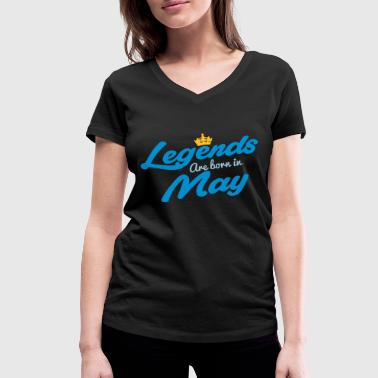 Legends Are Born In May - Women's Organic V-Neck T-Shirt by Stanley & Stella