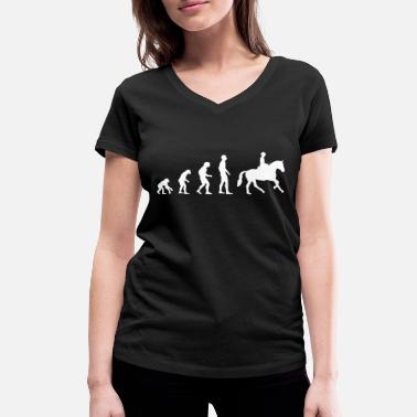 Evolution Horses Riding Evolution | Horse | horse riding - Women's Organic V-Neck T-Shirt by Stanley & Stella