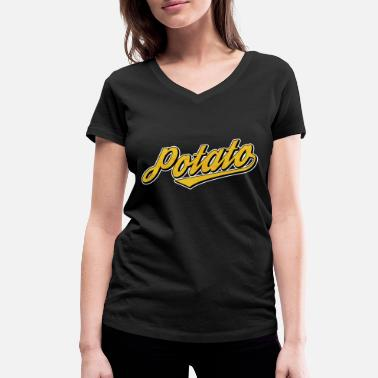 Text Font Potato retro font text - Women's Organic V-Neck T-Shirt by Stanley & Stella