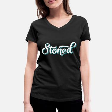 Polluer STONED drogues polluées cadeau herbe chemise grunge - T-shirt bio col V Stanley & Stella Femme