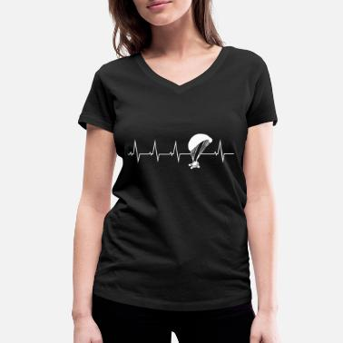 Paragliding Heartbeat Paragliding Paraglider Heartbeat Gift - Women's Organic V-Neck T-Shirt by Stanley & Stella