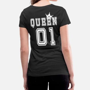 King Queen Valentine's Matching Couples Queen Crown Jersey - Women's Organic V-Neck T-Shirt by Stanley & Stella