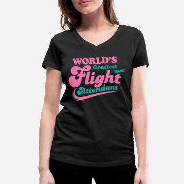 Aviation World's best flight attendant stewardess - Women's Organic V-Neck T-Shirt