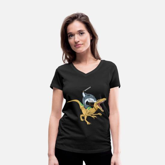 Hipster T-Shirts - shark riding dino trex dinosaur animal tshirt - Women's Organic V-Neck T-Shirt black