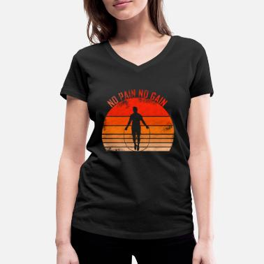 Sunset No Pain No Gain - Sport Sunset sonne retro fitness - Frauen Bio T-Shirt mit V-Ausschnitt