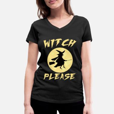 Haunt Witch magic witchcraft halloween broom - Women's Organic V-Neck T-Shirt