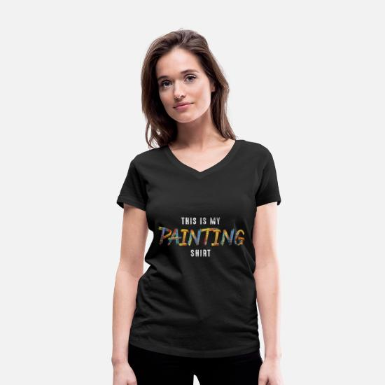 Gift Idea T-Shirts - painter - Women's Organic V-Neck T-Shirt black