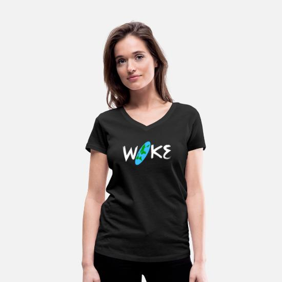 Gift Idea T-Shirts - Flat Earth - Women's Organic V-Neck T-Shirt black