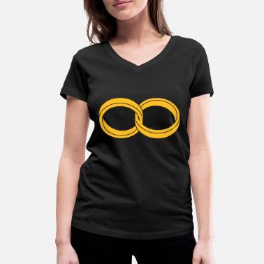 Engagement wedding rings - like a Symbol of infinity - Women's Organic V-Neck T-Shirt