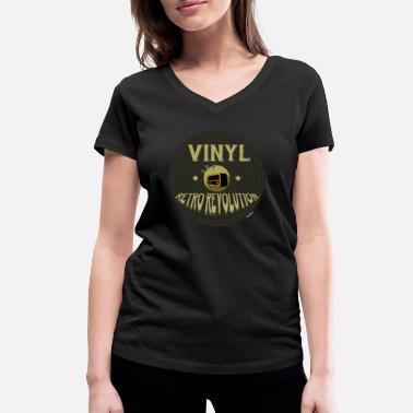 Phonograph Vinyl Retro Revolution Classic Phonograph Record - Women's Organic V-Neck T-Shirt
