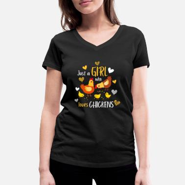 Village A girl who loves chickens, village child gift - Women's Organic V-Neck T-Shirt