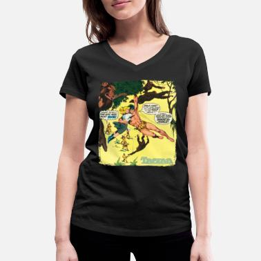 Tarzan Jane Old Comic Cover - Vrouwen V-hals bio T-shirt