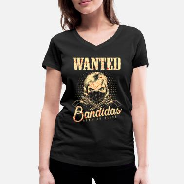 Wanted Wanted Wanted Gangster Wild West Bandidas - Maglietta con scollo a V donna