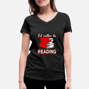 Library Book library library - Women's Organic V-Neck T-Shirt
