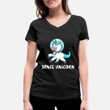 Galaxey Space unicorn astronaut space travel gift - Women's Organic V-Neck T-Shirt