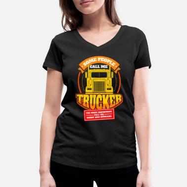 Truckman Mens Call Me Trucker Daddy Husband design | Truck - Women's Organic V-Neck T-Shirt