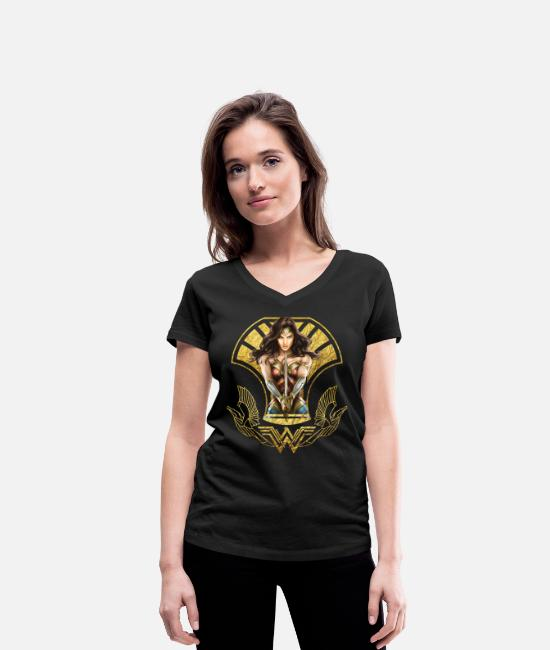 Superhero T-shirts - Bros Wonder Woman With Sword Gold Logo - Ekologisk T-shirt med V-ringning dam svart