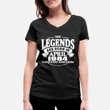 1984 Legends are born in april 1984 - Women's Organic V-Neck T-Shirt