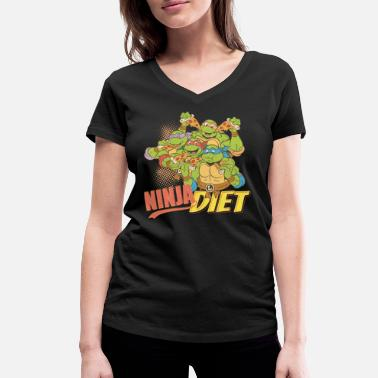 TMNT Turtles Ninja Pizza Diet - Vrouwen V-hals bio T-shirt