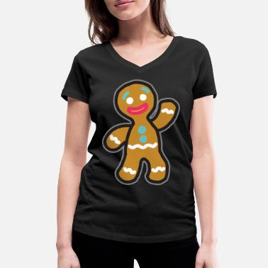 Gingerbread Man Gingerbread man - Women's Organic V-Neck T-Shirt