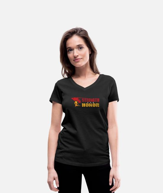 Birthday T-Shirts - STRENGH AND HONOR - Women's Organic V-Neck T-Shirt black