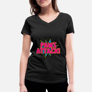 Attacked Paws Attack! - Women's Organic V-Neck T-Shirt