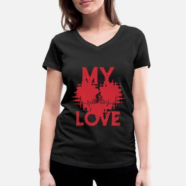Bmx MY LOVE BIKING - Women's Organic V-Neck T-Shirt