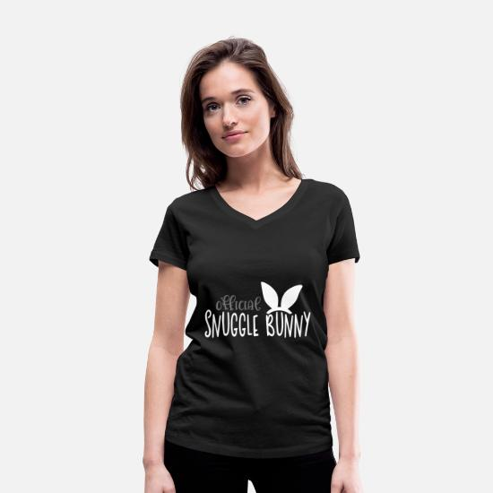 Santa T-Shirts - Snuggle Bunny - Women's Organic V-Neck T-Shirt black