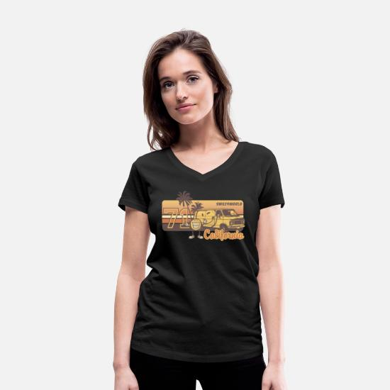 Palm T-shirts - SmileyWorld 'California' teenager t-shirt - Vrouwen V-hals bio T-shirt zwart