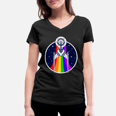 Gay Pride Star Trek Discovery Gay Pride Rainbow Emblem - Women's Organic V-Neck T-Shirt