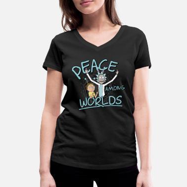 Rick & Morty Peace Among Worlds - Women's Organic V-Neck T-Shirt