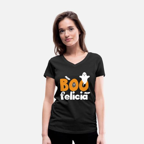 Witching Hour T-Shirts - Boo Felicia - Gift Halloween Ghost Ghost - Women's Organic V-Neck T-Shirt black