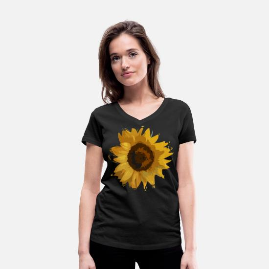Blume T-Shirts - sunflower - Women's Organic V-Neck T-Shirt black