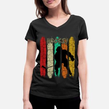 Hockey Retro Style Vintage Ice Hockey | Is sport gåva - Ekologisk T-shirt med V-ringning dam