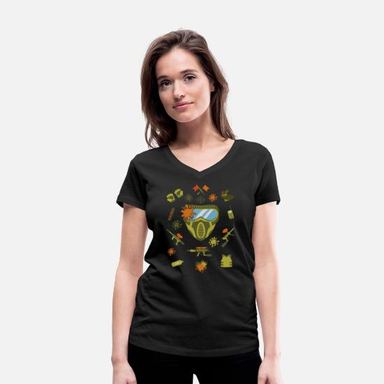 Airsoft T-shirts - Masque Paintball Airsoft Airsoft Paintballer - T-shirt bio col V Femme noir