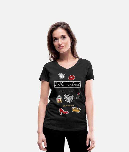 Weekend T-Shirts - Smiley World Hello Weekend Fake Patches - Women's Organic V-Neck T-Shirt black
