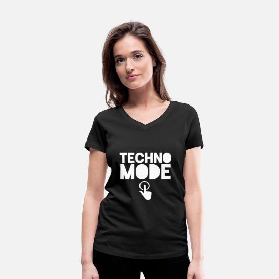 Trance T-shirts - Techno Techno party House Electric Raver Raven - Ekologisk T-shirt med V-ringning dam svart