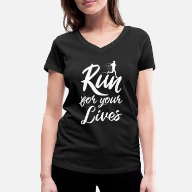Sprint Run For your Lives - Frauen Bio T-Shirt mit V-Ausschnitt