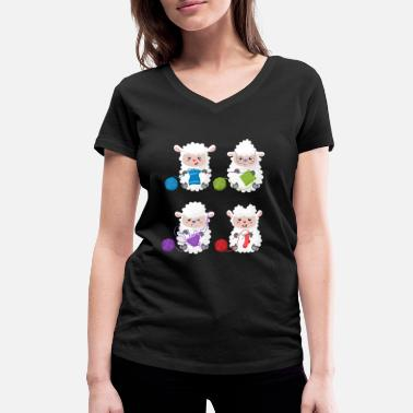 Knitting crochet needlework cartoon cute sheep - Women's Organic V-Neck T-Shirt