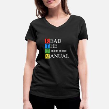 Manual RTFM Dark - Women's Organic V-Neck T-Shirt