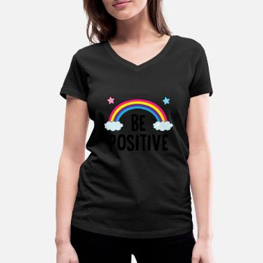 Without Be Positive Rainnbow Stickers - Women's Organic V-Neck T-Shirt