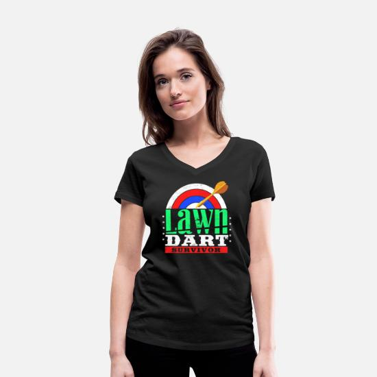 Gift Idea T-Shirts - Dart Team Softdart Steeldart 501 9-darter Darts - Women's Organic V-Neck T-Shirt black