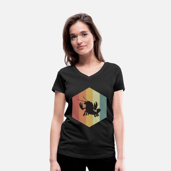 Marine Animal T-Shirts - Crustacean animal silhouette lobster - Women's Organic V-Neck T-Shirt black