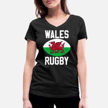 Wales Rugby Rugby Wales - Women's Organic V-Neck T-Shirt